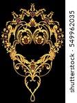 golden arabesque with red gems | Shutterstock . vector #549962035
