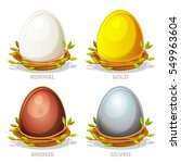 cartoon funny colored eggs in... | Shutterstock .eps vector #549963604