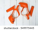 the pair of beautiful orange... | Shutterstock . vector #549975445
