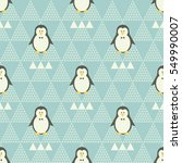 funny penguins with triangles. | Shutterstock .eps vector #549990007