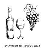 sketch of wine bottle  glass... | Shutterstock .eps vector #549991015
