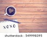 latte art coffee with xoxo sign ... | Shutterstock .eps vector #549998395