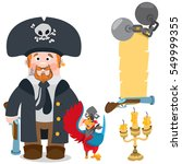 pirate captain and parrot.... | Shutterstock .eps vector #549999355