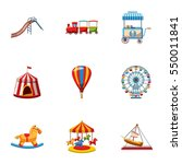 children rides icons set.... | Shutterstock . vector #550011841