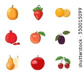 Fresh Fruit Icons Set. Cartoon...