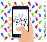 lets blog lettering logo at... | Shutterstock . vector #550019341
