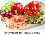 fresh vegetables tomato and... | Shutterstock . vector #550034461