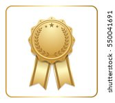 award ribbon gold icon. blank... | Shutterstock . vector #550041691