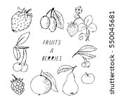 cherries and berries hand drawn ... | Shutterstock .eps vector #550045681