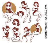 pinup girls  vector collection | Shutterstock .eps vector #550062595