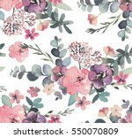 Stock photo seamless watercolor floral pattern on white background 550070809
