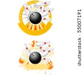 bowling strike emblems round... | Shutterstock .eps vector #55007191