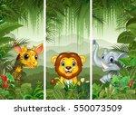 set of three african animals... | Shutterstock .eps vector #550073509