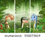 set of dinosaur with tropical... | Shutterstock . vector #550075819