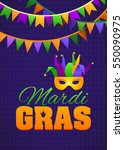 mardi gras party bunting poster.... | Shutterstock .eps vector #550090975