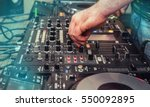dj console mixer and cd player  ... | Shutterstock . vector #550092895