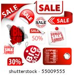 set of red discount tickets ... | Shutterstock .eps vector #55009555