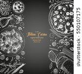italian cuisine top view frame. ... | Shutterstock .eps vector #550107175