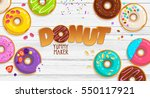 colorful cartoon donuts in... | Shutterstock .eps vector #550117921