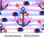 seamless pattern with fish ... | Shutterstock .eps vector #550120351