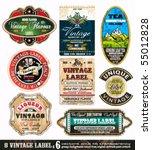 Stock vector vintage labels collection design elements with original antique style set 55012828