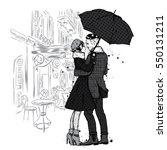Loving Couple Under An Umbrella....