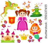 cute little princess  mermaid ... | Shutterstock .eps vector #550137655