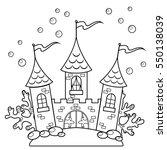 underwater castle. black and... | Shutterstock .eps vector #550138039