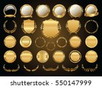golden shields laurel wreaths... | Shutterstock .eps vector #550147999