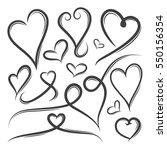 set of hand drawn heart shape...   Shutterstock .eps vector #550156354