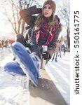 outdoor portrait of beautiful... | Shutterstock . vector #550161775