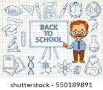 back to school themed doodle on ... | Shutterstock .eps vector #550189891