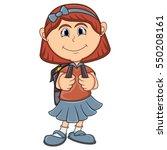 little girl with backpack... | Shutterstock . vector #550208161