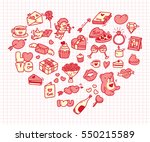 set of valentine icon doodle in ... | Shutterstock .eps vector #550215589
