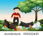 man looking at pile of trash in ... | Shutterstock .eps vector #550232635