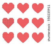 set of red hearts with halftone ... | Shutterstock .eps vector #550235911