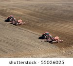 Two Tractors Plowing And Sowin...