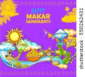 illustration of makar sankranti ... | Shutterstock .eps vector #550262431