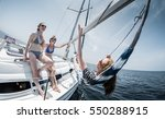 ladies relaxing on the sail... | Shutterstock . vector #550288915