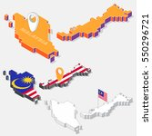 malaysia flag on map element... | Shutterstock .eps vector #550296721