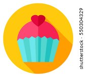 sweet cupcake circle icon. flat ... | Shutterstock .eps vector #550304329