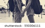 couple holding hands park... | Shutterstock . vector #550306111