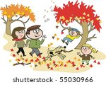 vector cartoon of happy family... | Shutterstock .eps vector #55030966