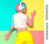 vanilla dj lady. minimal pop... | Shutterstock . vector #550332931