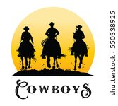 silhouette of cowboys riding... | Shutterstock .eps vector #550338925