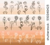 set of floral silhouettes rose  ... | Shutterstock .eps vector #550340425