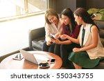 businesswomen meeting to... | Shutterstock . vector #550343755