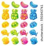 fruit jelly candies. vector set ... | Shutterstock .eps vector #550343761