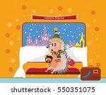 funny cartoon style hedgehog... | Shutterstock .eps vector #550351075