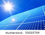 solar panel against blue sky | Shutterstock . vector #55035709
